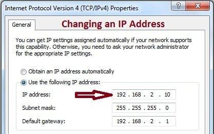 تغییر آدرس های IP